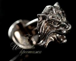 Серебряные запонки лев