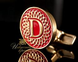 """Золотые запонки с инициалами """"D"""""""