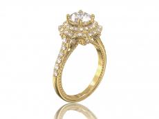 """Золотое кольцо с фианитами для помолвки """"Жозефин"""""""
