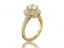 """Золотое кольцо с фианитами """"Жозефин"""""""