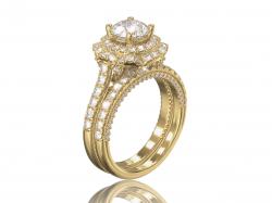 """Золотое кольцо для помолвки """"Софи"""" с фианитами."""