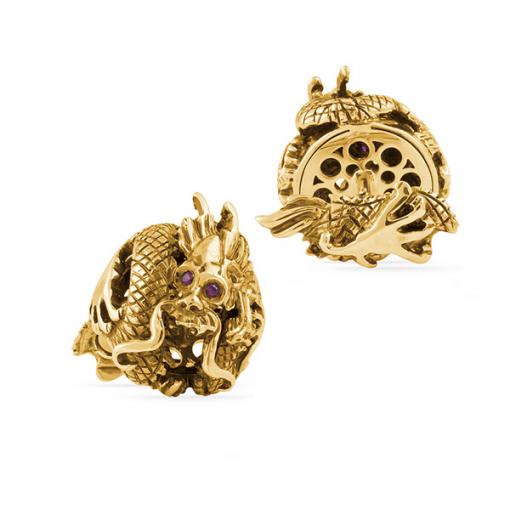 Запонки Montegrappa Dragon Gold Cufflinks