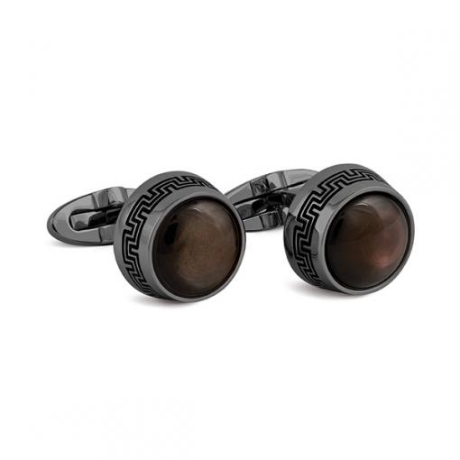 Запонки Montegrappa Extra Gun PVD Black Mother-of-Pearl inlay Cufflinks