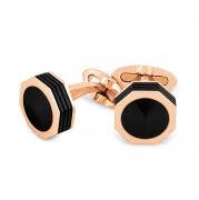 Запонки Montegrappa NeroUno Rose Gold PVD Onyx Inlay Cufflinks