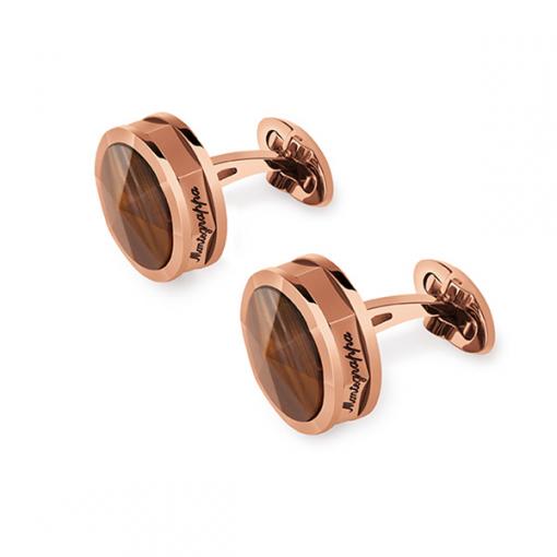 Запонки Montegrappa NeroUno Rose Gold PVD, Tiger Eye Inlay Cufflinks