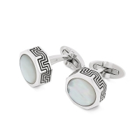 Запонки Montegrappa Privilege Stainless Steel White Mother-of-Pearl Inlay Cufflinks
