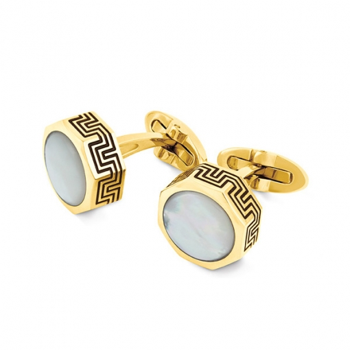 Запонки Montegrappa Privilege Yellow Gold PVD White Mother-of-Pearl inlay Cufflinks