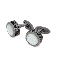 Запонки Montegrappa Privilege Gun Metal PVD White Mother-of-Pearl inlay Cufflinks