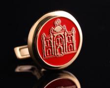 Запонки Синагога с красной эмалью
