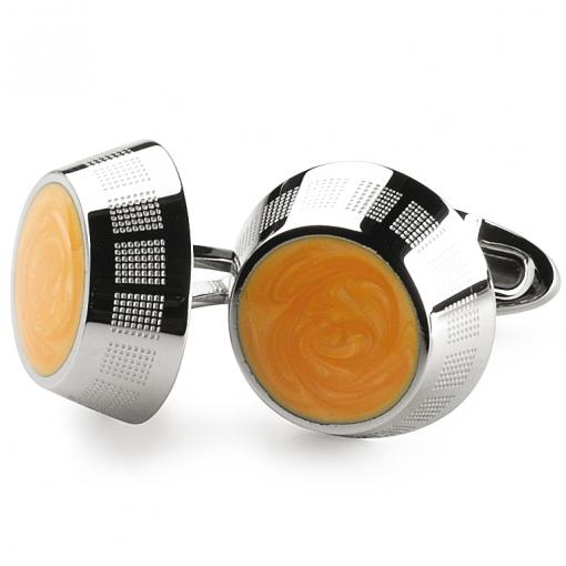 Запонки Montegrappa Miya Stainless steel, Yellow Cufflinks