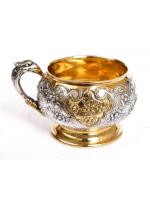 Серебреная Чашка Птицы и цветы