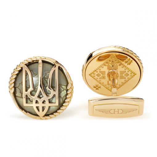 Запонки Herzog Ukraine Yellow Gold, Topaz and Diamond