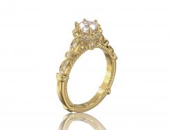 """Помолвочное кольцо """"Габриэлла"""" из золота с фианитами."""