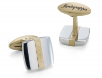 Montegrappa Запонки Quadro Cufflinks, Steel & IP Yellow Gold