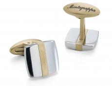 Montegrappa Запонки Quadro Cufflinks, Steel & IP Yellow Gold