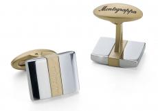 Запонки Montegrappa Rettangolo Cufflinks, IP Yellow Gold & Steel