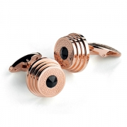 Запонки Montegrappa Stairway Rose Gold PVD and Black Crystal insert Cufflinks