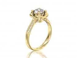 """Эксклюзивное золотое кольцо """"Эстель"""" с фианитами."""