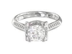 """Эксклюзивное золотое кольцо для помолвки """"Эстель"""" с фианитами."""