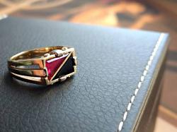 Винтажный перстень с рубином и агатом (золото 585)