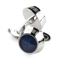 Запонки Montegrappa Miya Stainless steel with Midnight, Blue Cufflinks