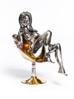 Серебреная Статуэтка Девушка на кресле