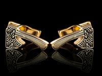 Золотые запонки с логотипом Топорик